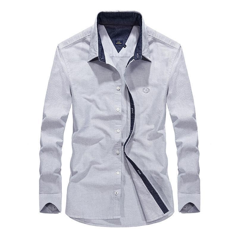 남성 셔츠 긴 소매 캐주얼 플러스 사이즈 루스 남성 면화 탑 옷깃 셔츠 청소년 거리 망복 퓨어 컬러 남성