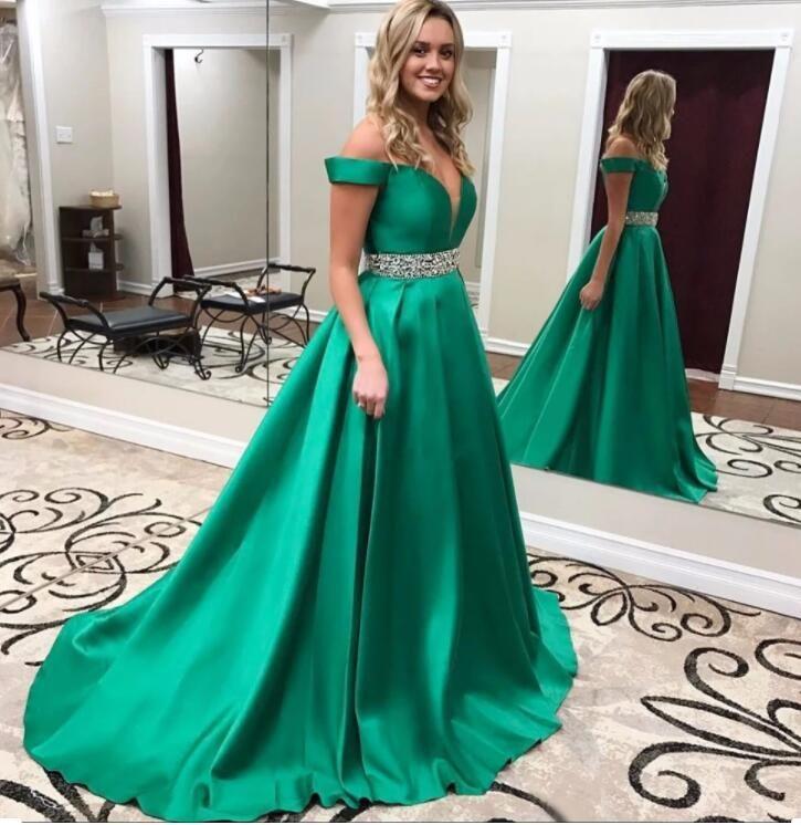 Dark Green Evening Dress 2021 Off the Shoulder Zipper Back Satin Prom Gowns Sweep Train