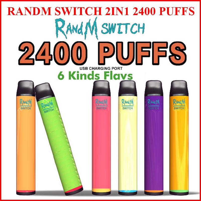 RANDM 스위치 2in1 일회용 전자 담배 1100mAh 배터리 10ml 포드 vape 펜 키트 2400puffs 전자 담배
