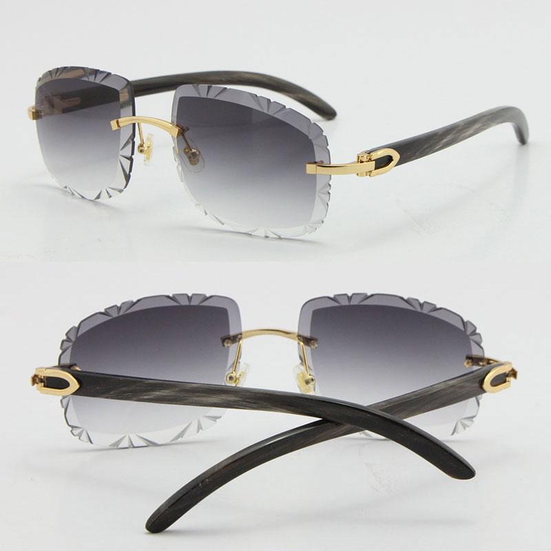 무두질 원래 원래 대리석 검은 버팔로 경적 선글라스 T8200762 다이아몬드 컷 조각 렌즈 유니섹스 대형 사각형 태양 안경 도매 빈티지 남성과 여성 안경