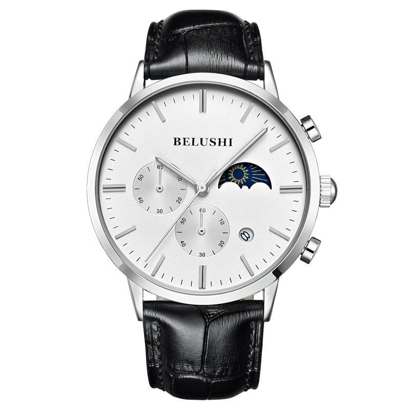 Relógio de pulso de relógio de relógio de relógio de relógio de relógio de relógio de relógio de quartzo Sun Moon Star Belt Moda 5-Pin Sport WristWatches
