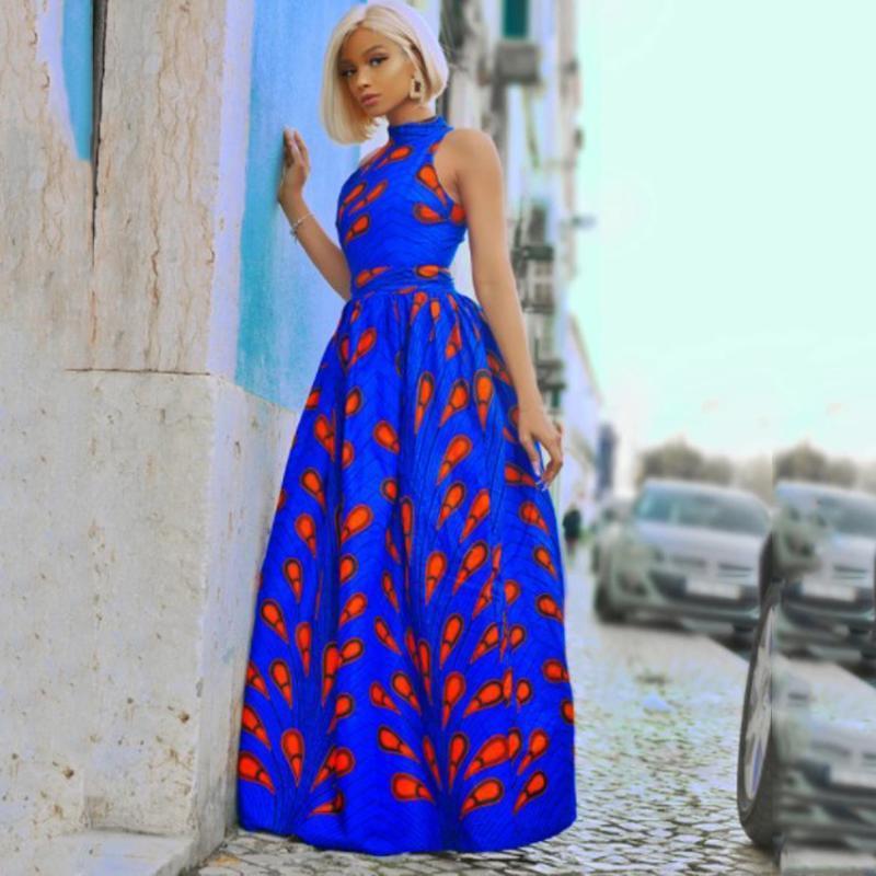 Vêtements ethniques Robes africaines Pour Femmes Mode Mode Maxi Robe Dashiki Print Turban Robe Africaine Dîner Vêtements de soirée de soirée