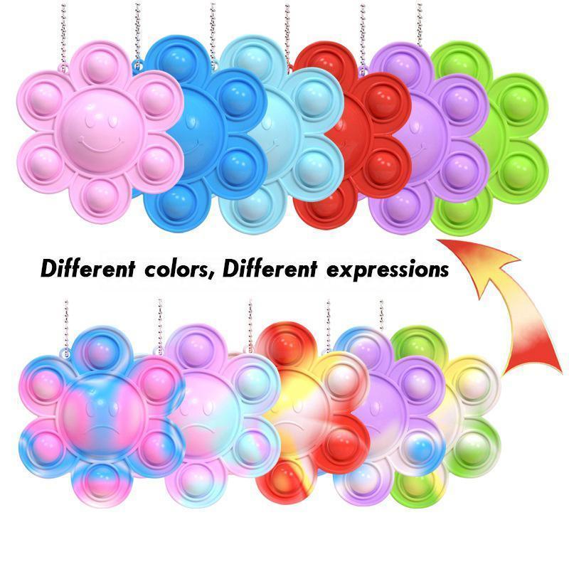 2021 Fidge игрушка оригинальный толчок его пузырь смешно радуга подсолнечное выражение флип кукла силиконовые декомпрессии кулон игрушки 6 цветов DHL корабль