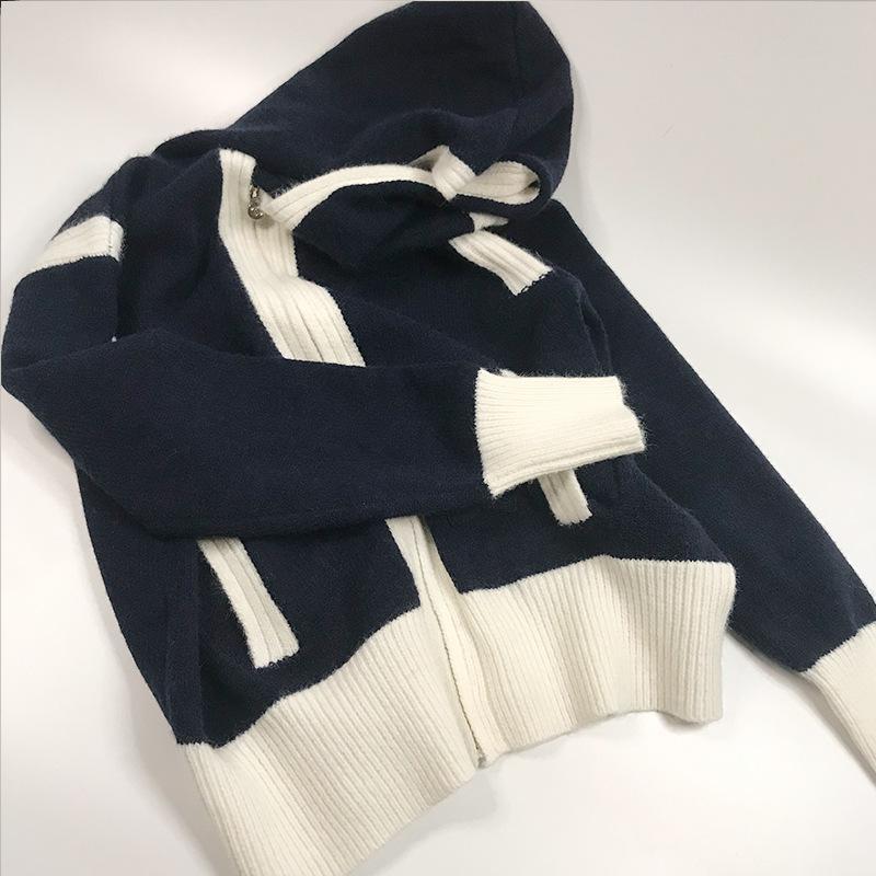2021 Stile di Milano Stile Primavera Estate Brand Same Style Maglione Stampa Regolare manica lunga con cappuccio Cardigan con cappuccio Donne Vestiti Xue