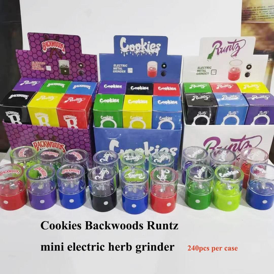 Cookies Backwoods Runtz elektrische Mühle Rauchen Zubehör Tabacco Crusher Cracker mit aufgerüsteten Einfachen Einschalttaste Reinigungsbürste inklusive