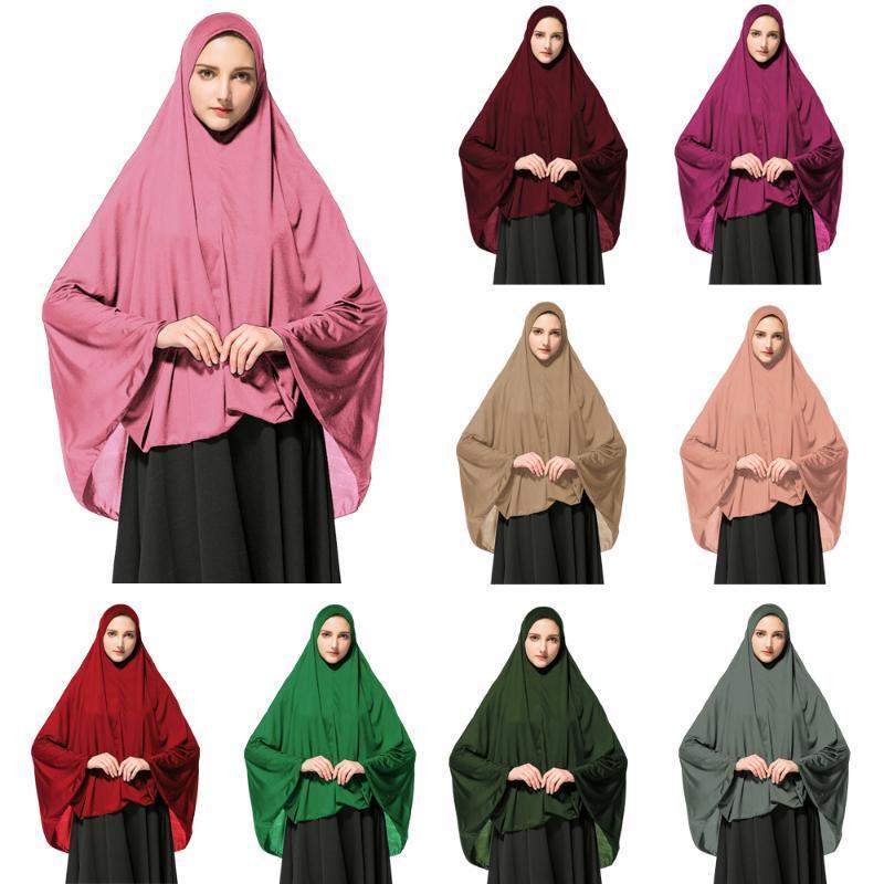 Muslim Women Prayer Hijab Long Scarf Jilbab Islamic Large Overhead Dress Full Cover Clothes Ramadan Khimar Arab Worship Service Ethnic Cloth