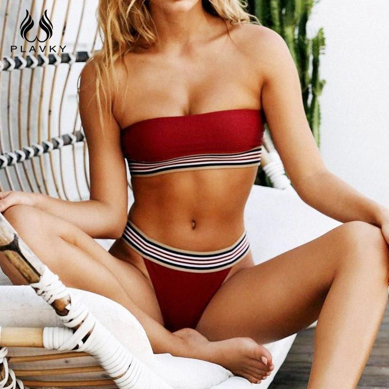 Plavky 2019 Seksi Basit Stil Katı Bandau Biquini Çizgili Bandaj Mayo Dikişsiz Mayo Tanga Mayo Kadın Bikini W35N #