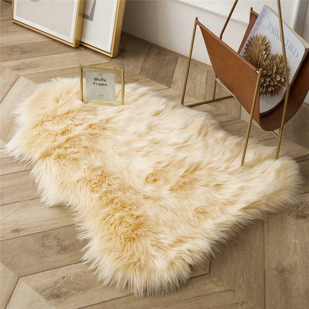 Faux Koyun Peluş Alan Halıları Oturma Odası Yatak Odası Için Kat Masa Yastık Paspaslar Düzensiz Kanepe Sandalye Kanepe Kapak Ev Dekor Y0803