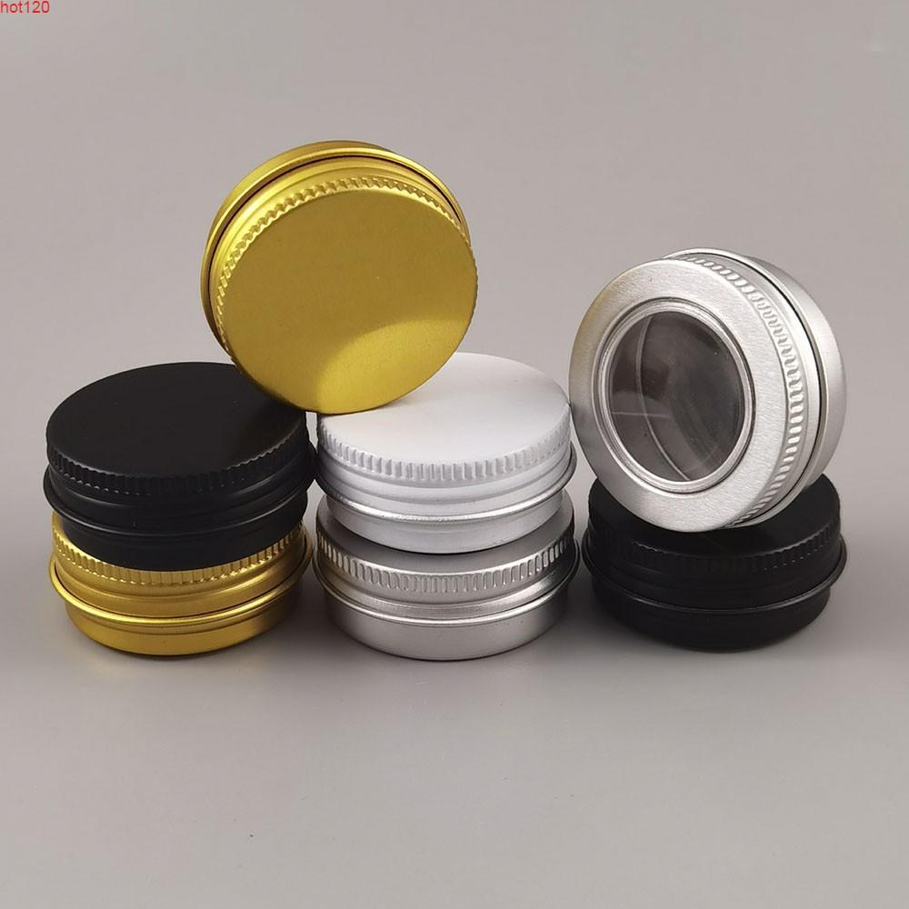 100x15g Boş Beyaz Altın Siyah Alüminyum Krem Kavanoz Pot Nail Art Makyaj Dudak Parlatıcısı Kozmetik Metal Teneke KonteynerlerGıda