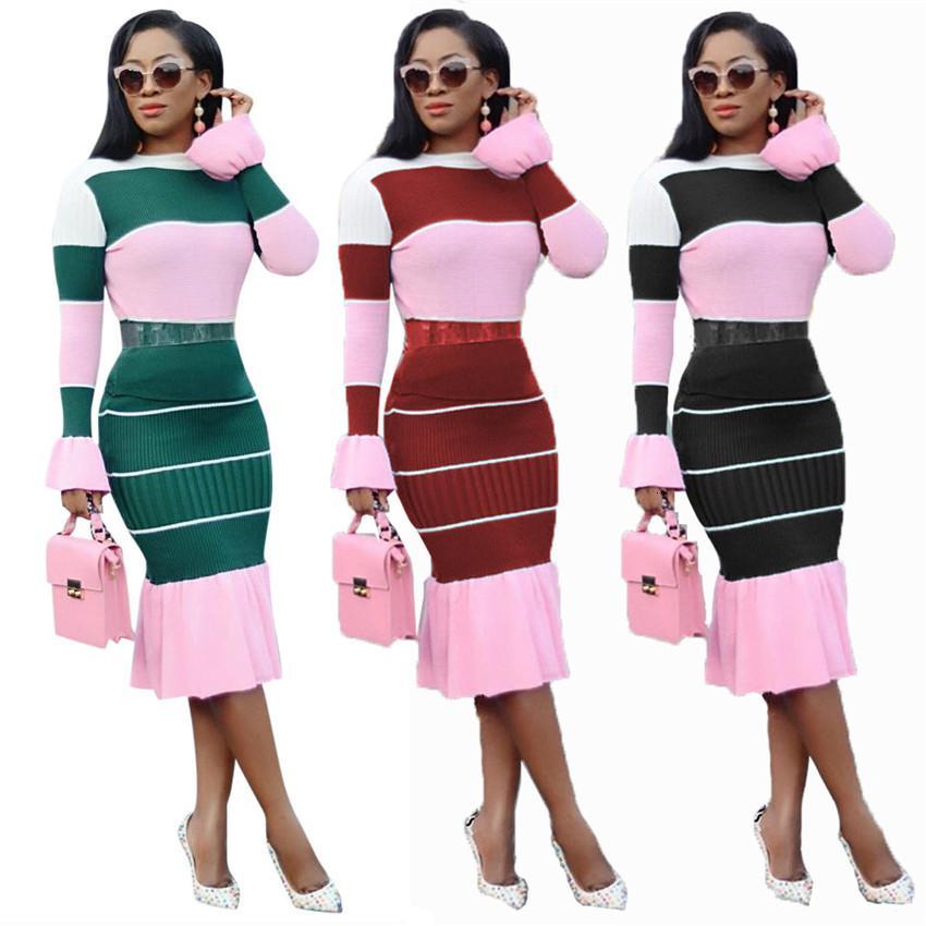Outfits Winter gestreifte langarm Rüschen Zwei Stück Kleid Casual Skinny Plus Size Damen Kleidung 2 Stück Sets