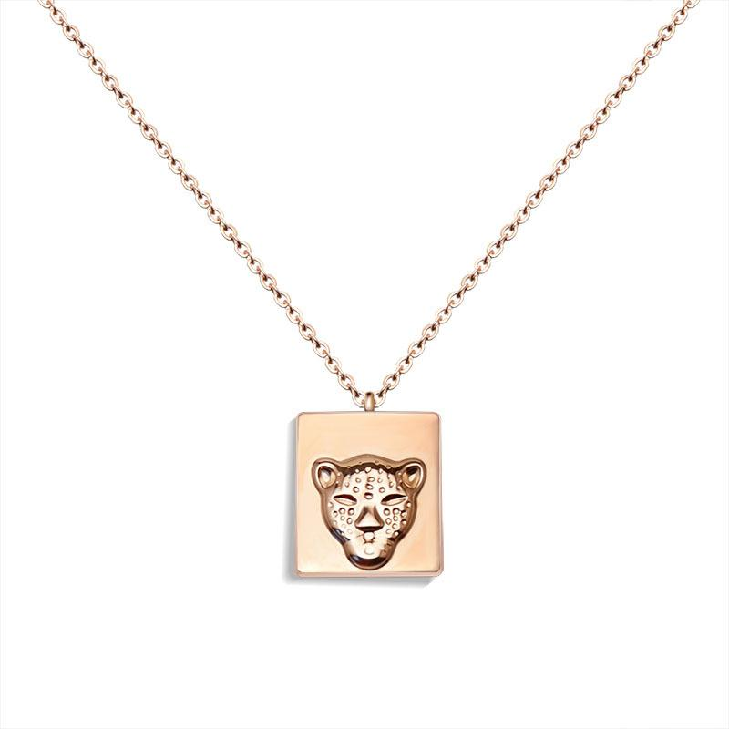 Luxury Brand Gold Color Leopard Pendant Trendy Stainless Steel Chain Necklaces for Women Men Birthday Gift Whole Bulk Items