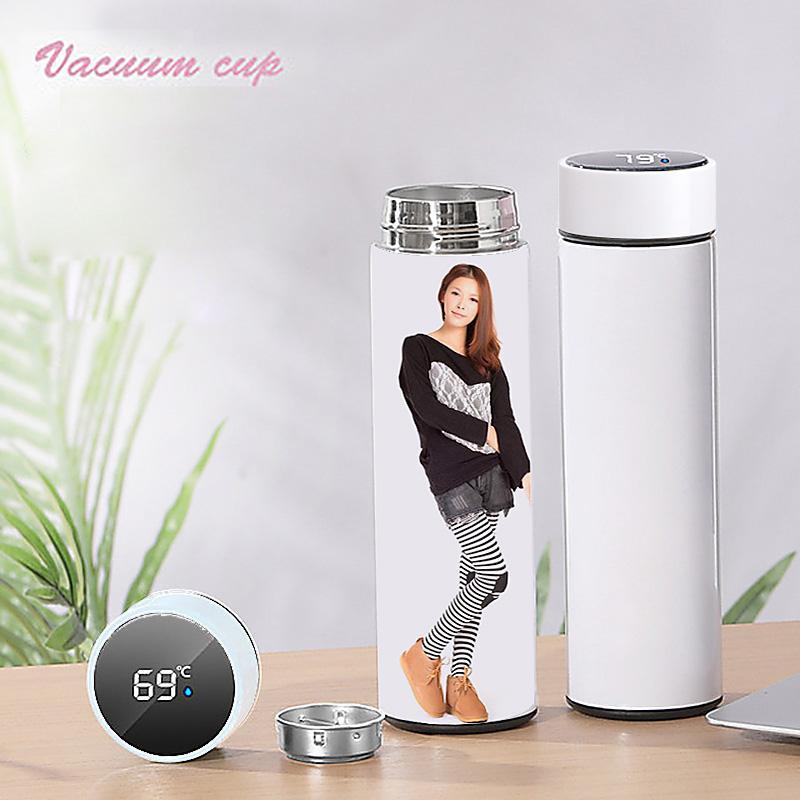 Creatività Sublimation Blanks Bottiglia di acqua Bottiglia d'acqua 500ml Acciaio inossidabile Acciaio inossidabile Tazza da caffè sottovuoto con il regalo della temperatura del display del touch a LED
