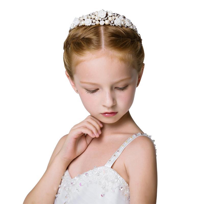 Exquisite Manual Flower Girls Head Pieces Kids' Accessories For Weddings Girls Tiaras Formal Wear