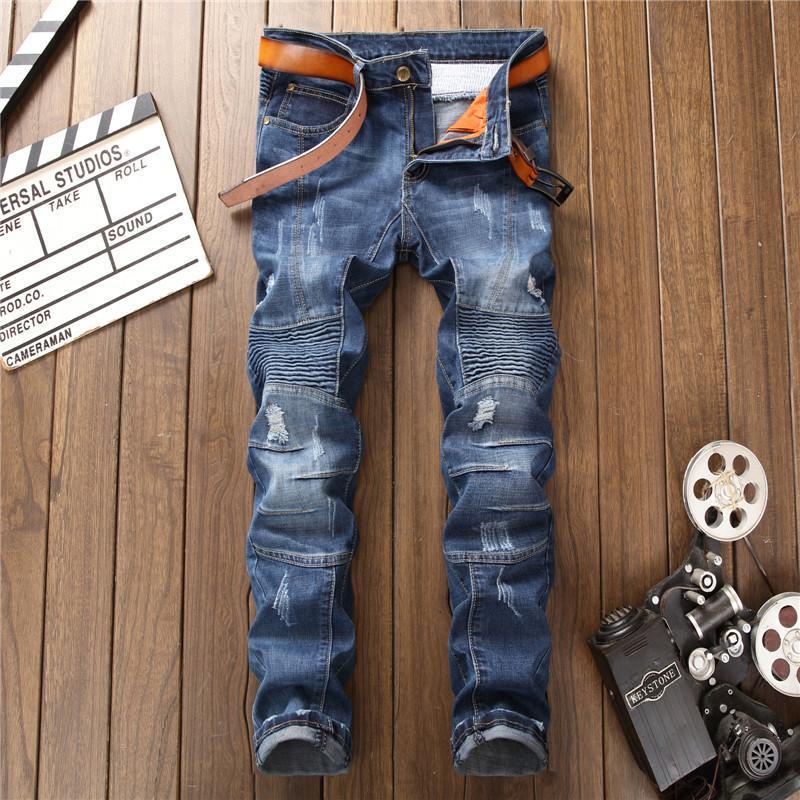 Fashion Brand Men Ripped Jeans Silm Fit Biker Pleated Solid Male Blue Denim Trousers Designer Plus Size Distressed Men's