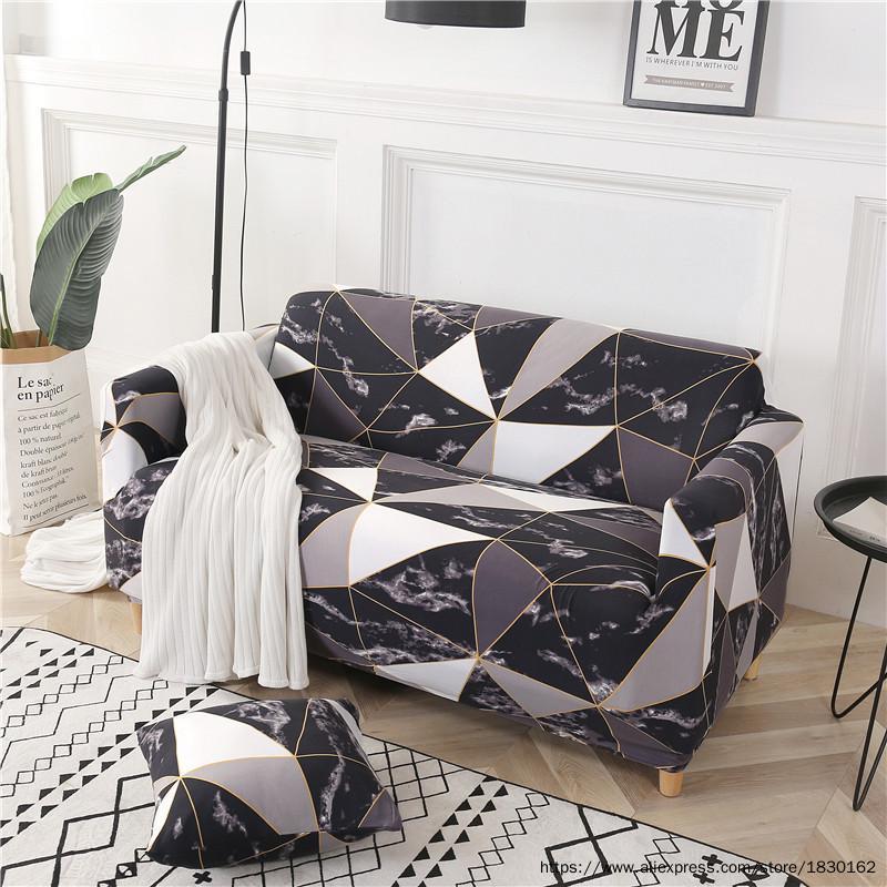 Чехлы для стула 1/2/3/4 Seat Sea Spandex для гостиной Полностью завернутые скольжения, эластичные геометрические напечатаны