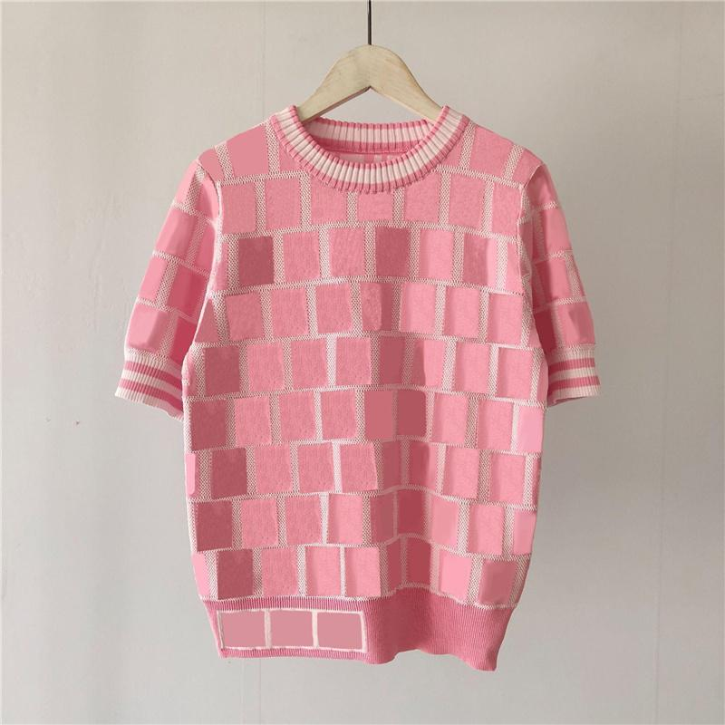 편지 Womens 니트 티셔츠 티셔츠 패션 럭셔리 숙 녀 스웨터 짧은 소매 라운드 넥 여성 셔츠 탑스