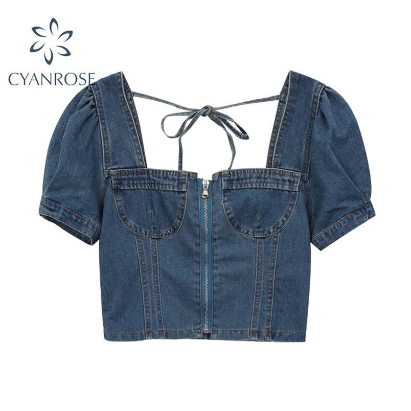 Coltura in denim a manica corta Tops donna schiena lace-up Vintage Sexy Slim Summer Camicia e Blusas Zipper Mujer 210515