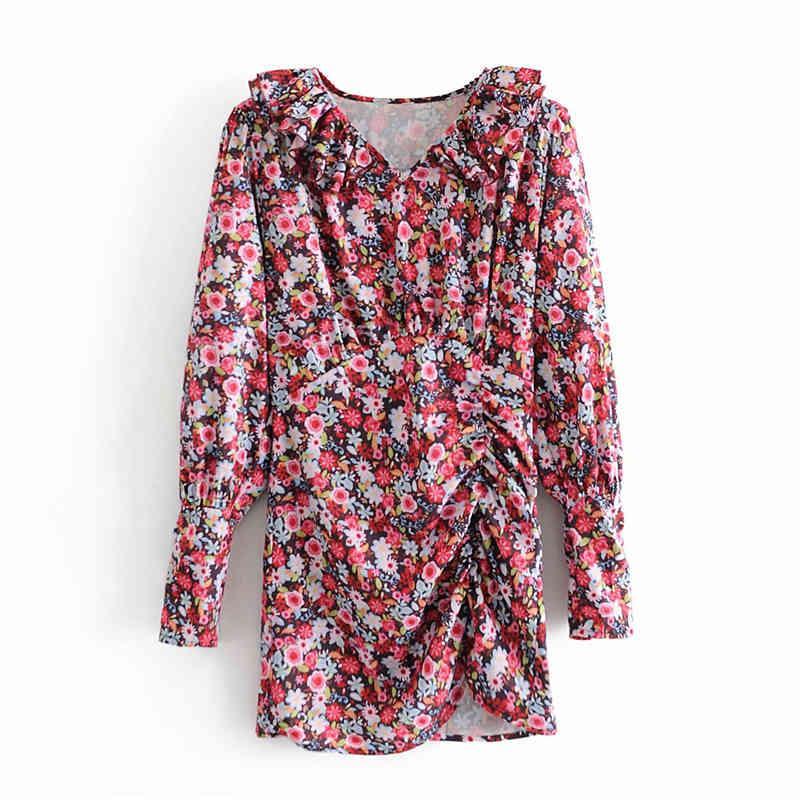 Günlük Elbiseler Zarif Kadın Basamaklı Ruffles V Yaka Es Moda Bayanlar Çiçek Baskı Vintage Kadın Draped Asimetrik Vestidos PKR