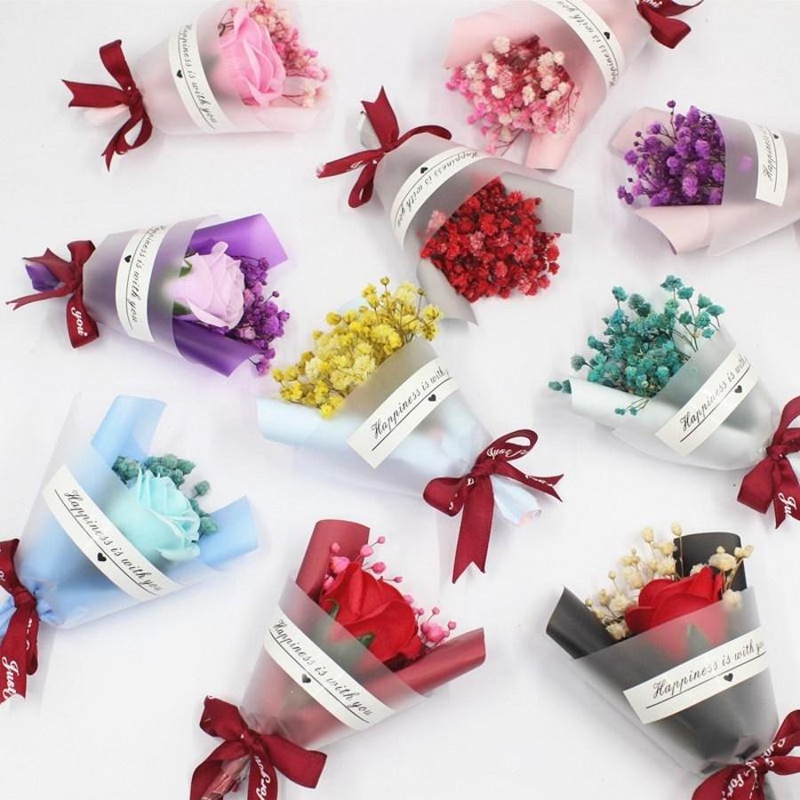 Мини Рождественские День Святого Валентина подарок Высушенный Искусственный Цветок Фальшивый Гипсофила Букет Творческий Вечный Гипсофила Букет Мыло Цветок