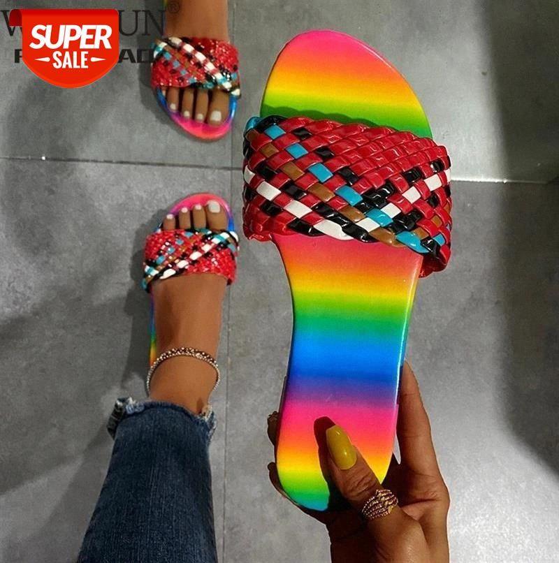 WDHKUN 2021 Summer New Slippers Woven Flat Sandals Open Toe Outdoor Beach Women's Shoes Multicolor Plus Size 43 #AB2z
