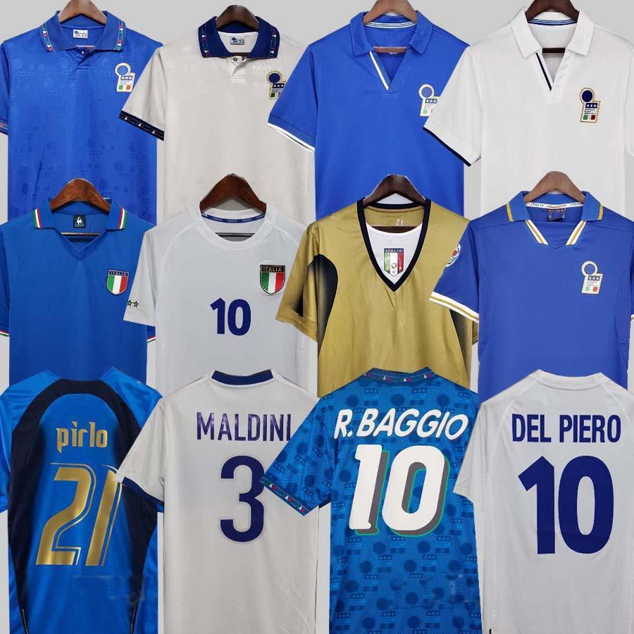 Acquista 1982 Italia Retro Soccer Jersey 1990 1996 1998 2000 Home Football 1994 Maldini Baggio Donadoni Schillaci Totti Del Piero 2006 Pirlo Inzaghi ...