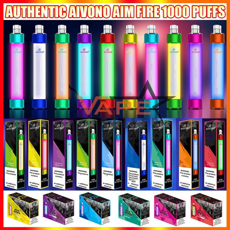 정통 Aivono 목표 화재 일회용 vape 펜 전자 담배 장치 rgb 빛 650mAh 배터리 4ml 프리 쿼리 카트리지 포드 1000 퍼프 빛나는 vapes 키트 대 큰 막대