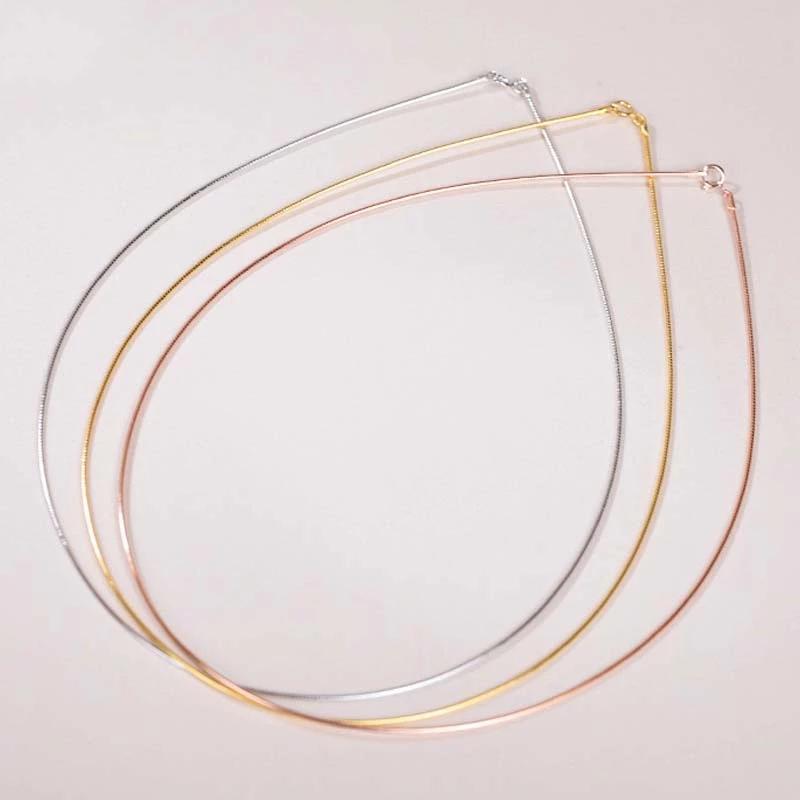 925 Collar de cadena de plata esterlina Hip Hop para las mujeres Punk Rock Rose Gold Cadenas de serpientes Enlace Collares de Enlace Joyería Accesorios Regalo