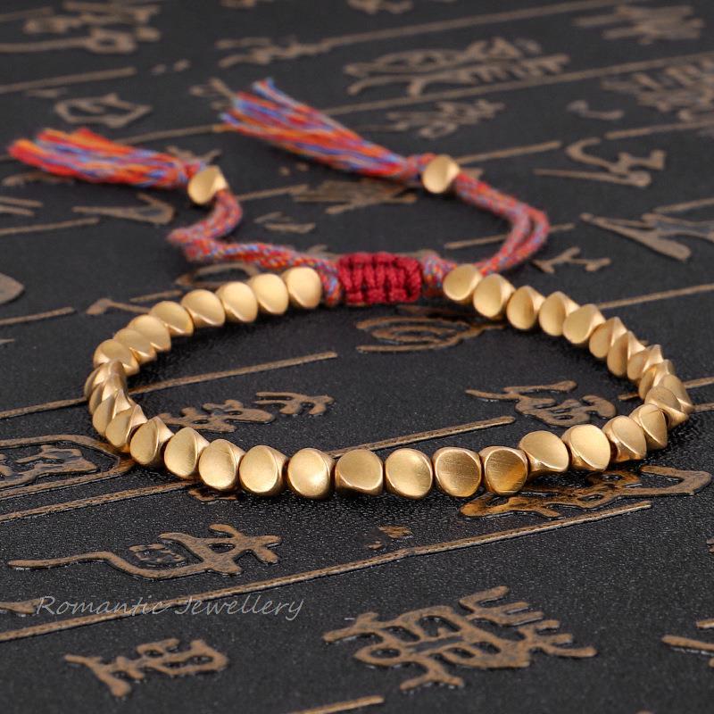 Charm Bracelets Bohemian Handmade Tibetan Buddhist Braided & Bangles Men Cotton Rope Copper Beads Lucky Bracelet Women Jewelry