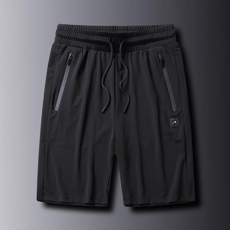 İnce yaz buz ipek şort erkek pantolon beş dakika hızlı kurutma örgü klima spor giyim rahat gevşek plaj