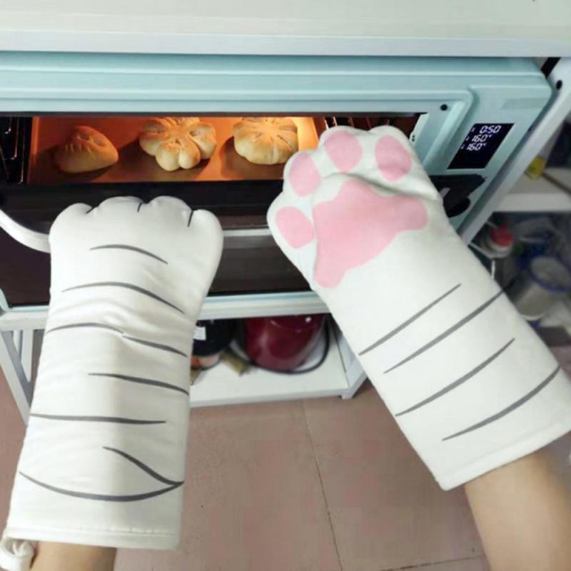3D Cartoon Katze Pfoten Ofen Ofen MTS Lange Baumwolle Backen Isolierhandschuhe Mikrowelle Rutschfeste Hitzebeständige Küchenhandschuhe heiß