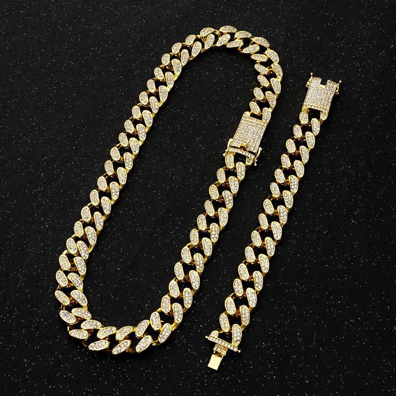 2 سنتيمتر الهيب هوب الذهب والفضة اللون مثلج من كريستال ميامي الكوبي سلسلة قلادة سوار مجموعة للرجال من حجر الراين الثقيلة مغني الراب سلاسل القلائد