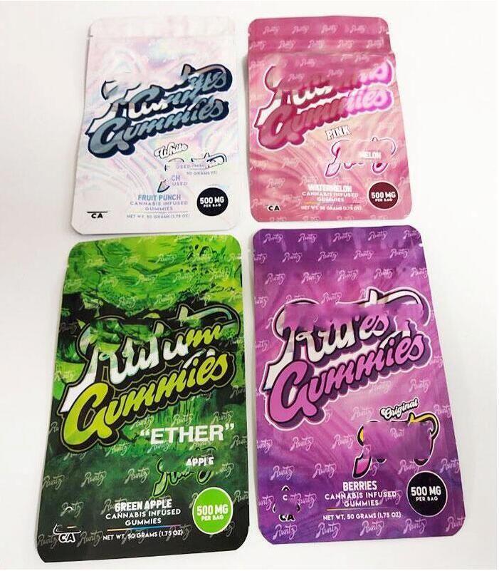 2021 Runtz Gummies 500 mg Maylar Bag Ether Dank Gummi Wurm Mylar Taschen Geruchssichere Edibles Verpackung Chuckles Gummie Uv57