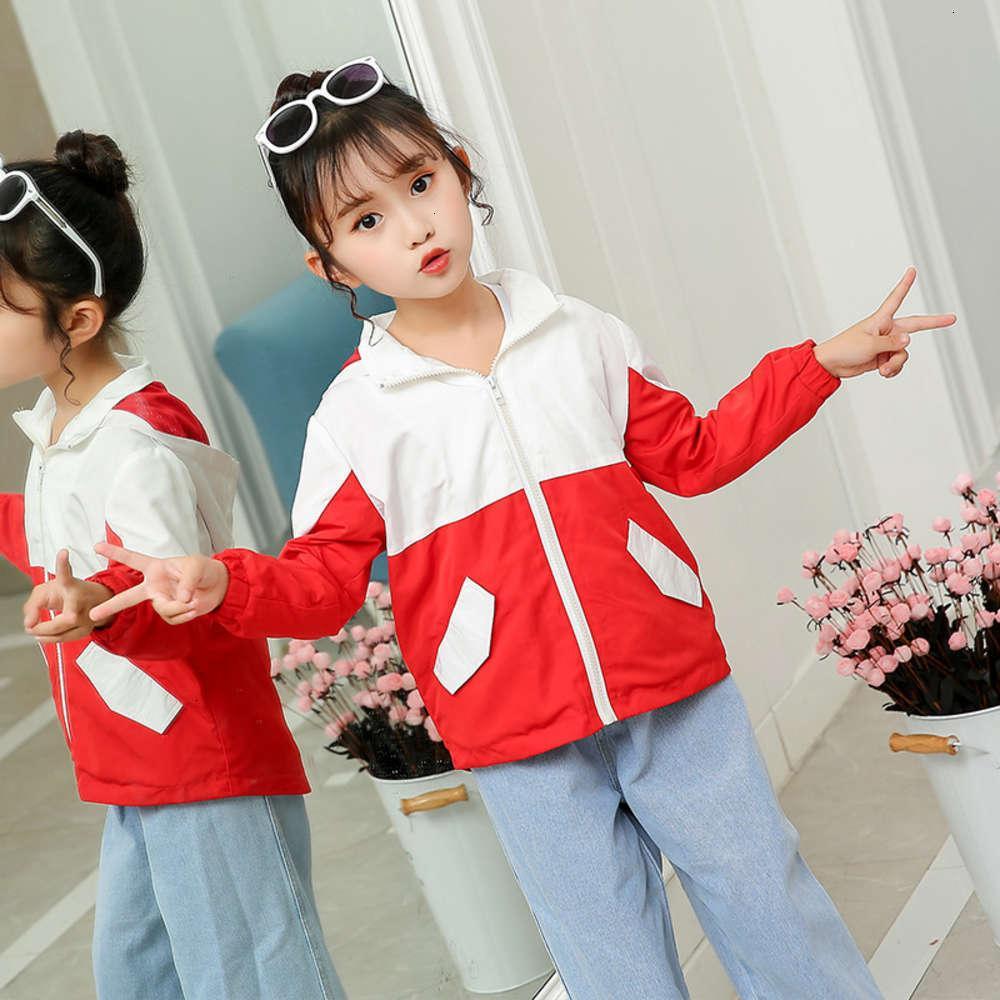 Sweats à capuche Sweatshirts Physique StrippingCasual Automne Filles 'Coat Couleur Correspondance et Chemise à glissière à capuche pour enfants Coréen Top