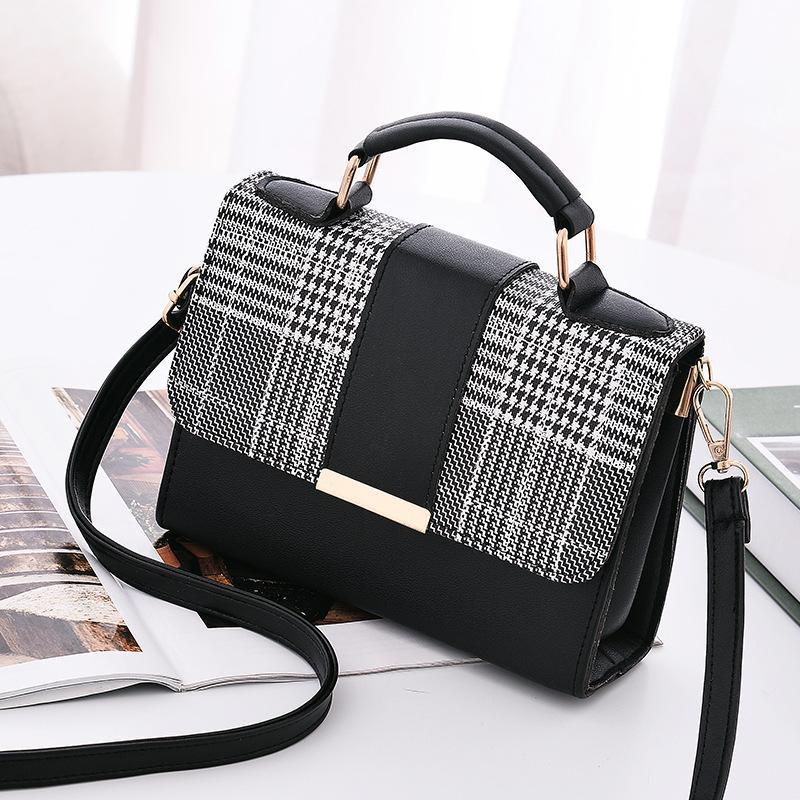 여자의 핸드백 한국 패션 버전의 격자 무늬 스티치 스퀘어 가방 크로스 바디 어깨 사용자 정의 작은 여성 가방