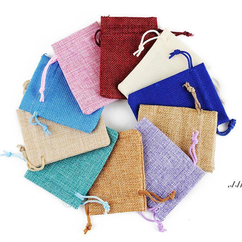 Mini Pochette Jute Sac de linge Hemp de petits sacs à cordon de cordon Collier Collier Bijoux Bijoux Pochettes Favors Packaging DWB7724