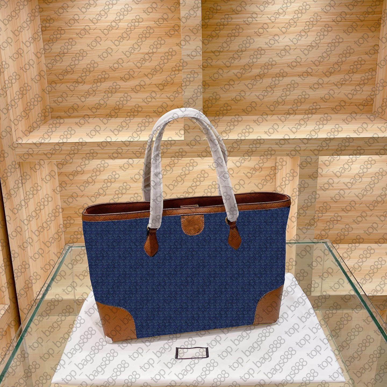Luxus Designer Marke Frauen Denim Große Tasche Einkaufstasche Klassische Elfenbein Weißer Brief Druck Ophid1a Braun Rindsleder Griff Handtaschen Umhängetaschen