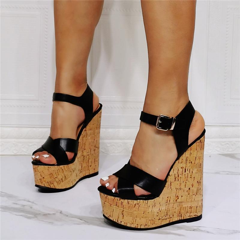 Sandalen plus größe massive leder schwarz plattform frauen keile schuhe sommer criss richtung holz dicke high heels sandalias femininas