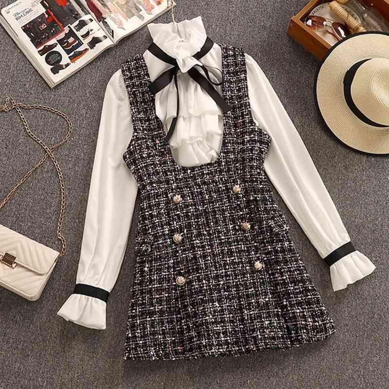 2020 Sonbahar Kış 2 Parça Set Tulum Elbise Kadınlar Zarif Ruffles Şifon Yay Gömlek Üst + Kruvaze Ekose Tüvit Yelek Elbise T200825