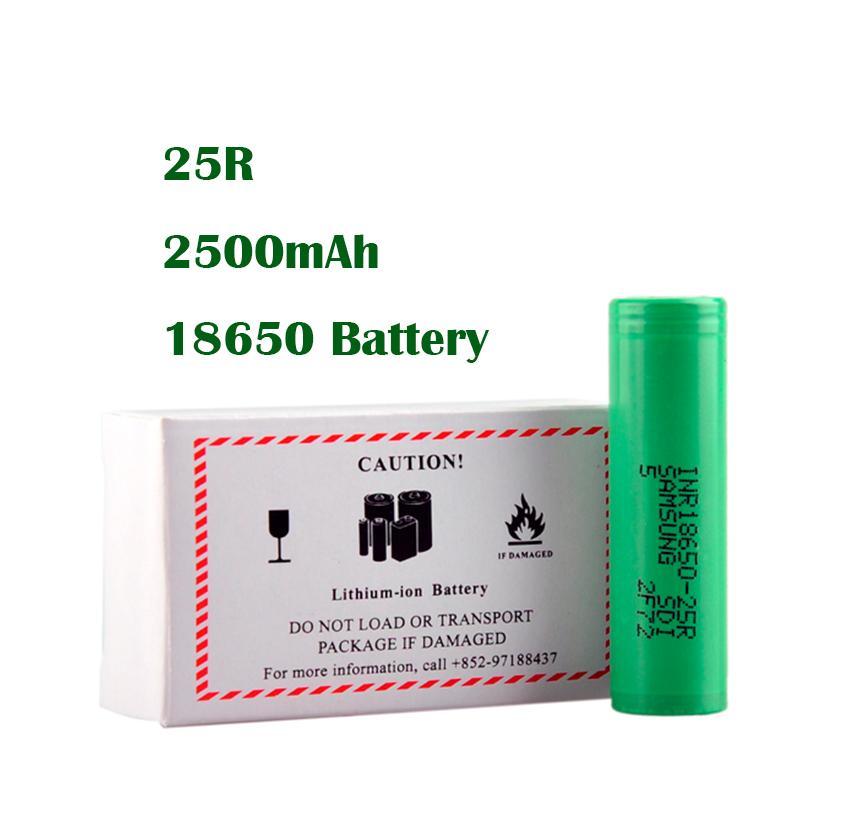 100% Yüksek Kalite 25R 18650 Pil 2500 mAh 20A 30A Yüksek Kapasiteli Lityum Şarj Edilebilir 18650 Pil Eig Mods için Samsung 25R DHL Hızlı
