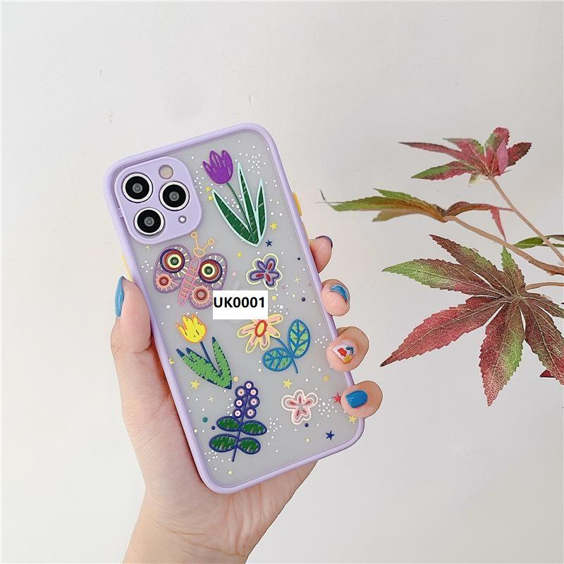 3D Flower Cute CaseS For iPhone 12 pro 11pro XS XR max Soft Bumper Transparent Matte PC Back Cover Girl Style Phone Protective Shell