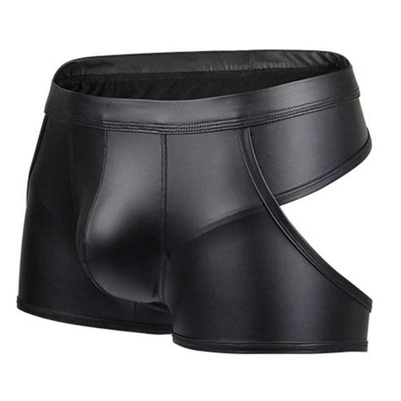 Sous-vêtements Gay Hommes Solide Cuir Spide Homme Capsule à taille basse Capsule Sous-potes Boxers mâles Culotte plate