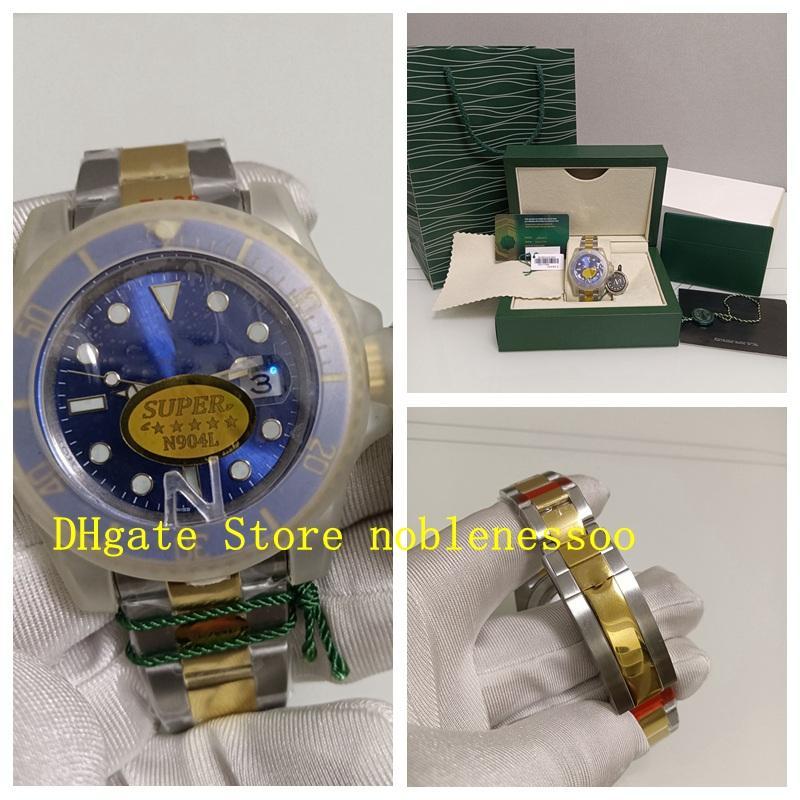 Super N montres d'usine 904L avec boîte d'origine Mens 41mm Bleu Cadran 126613 Numéro de carte correcte 126613LB En acier Gold Sapphire Glass Diving 2813 Hommes Montre automatique