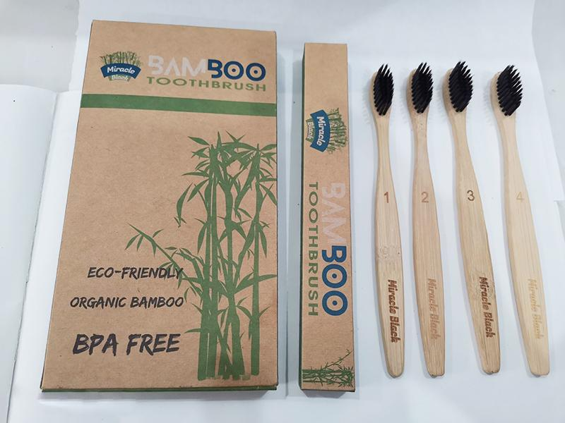 4pcs in a pack natural biodegradable bamboo charcoal toothbrush ecofriendly family recyclable pack for travel bamboo organic toothbrushes