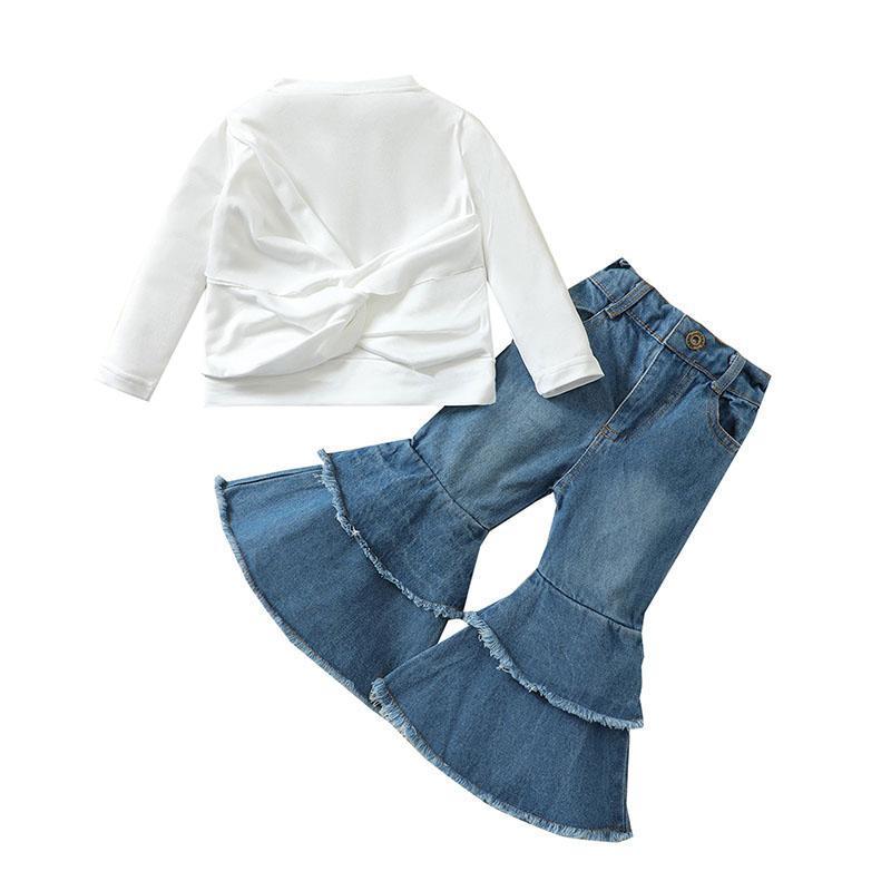 kids Clothing Sets girls outfits children Tops+denim Flared pants 2pcs/set Spring Autumn fashion Boutique baby Clothes