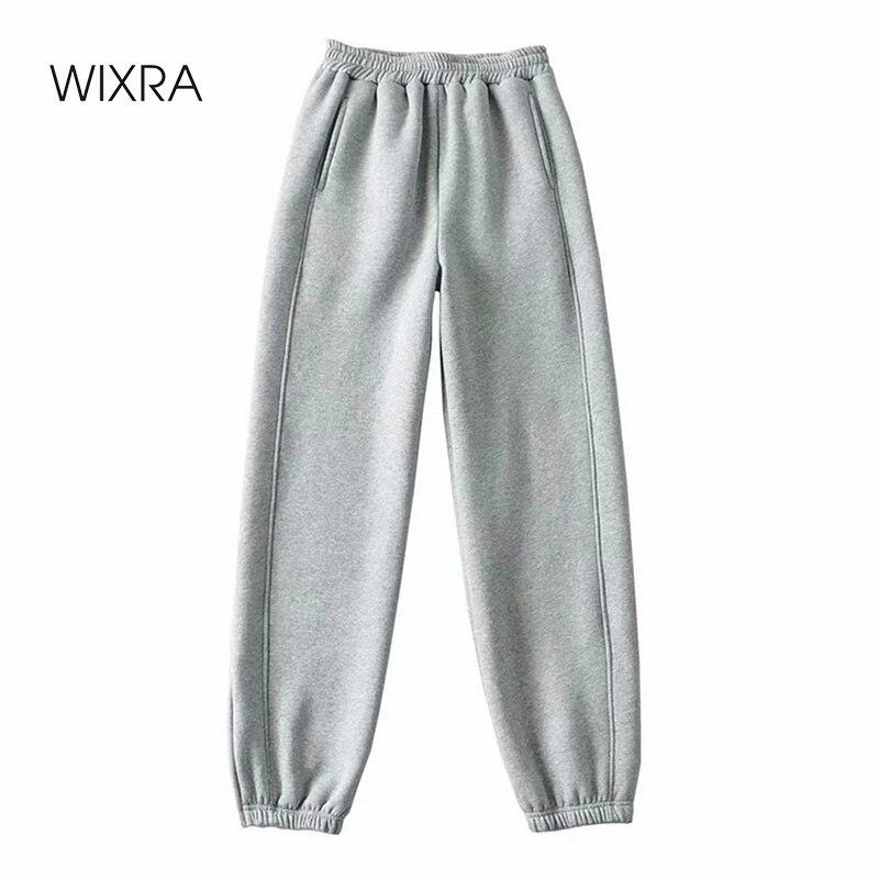 Oversized Fleece Zipper Sweatpants Mulheres 90% algodão solto casual larga perna harem outono e inverno engrossar calças esportivas 210414