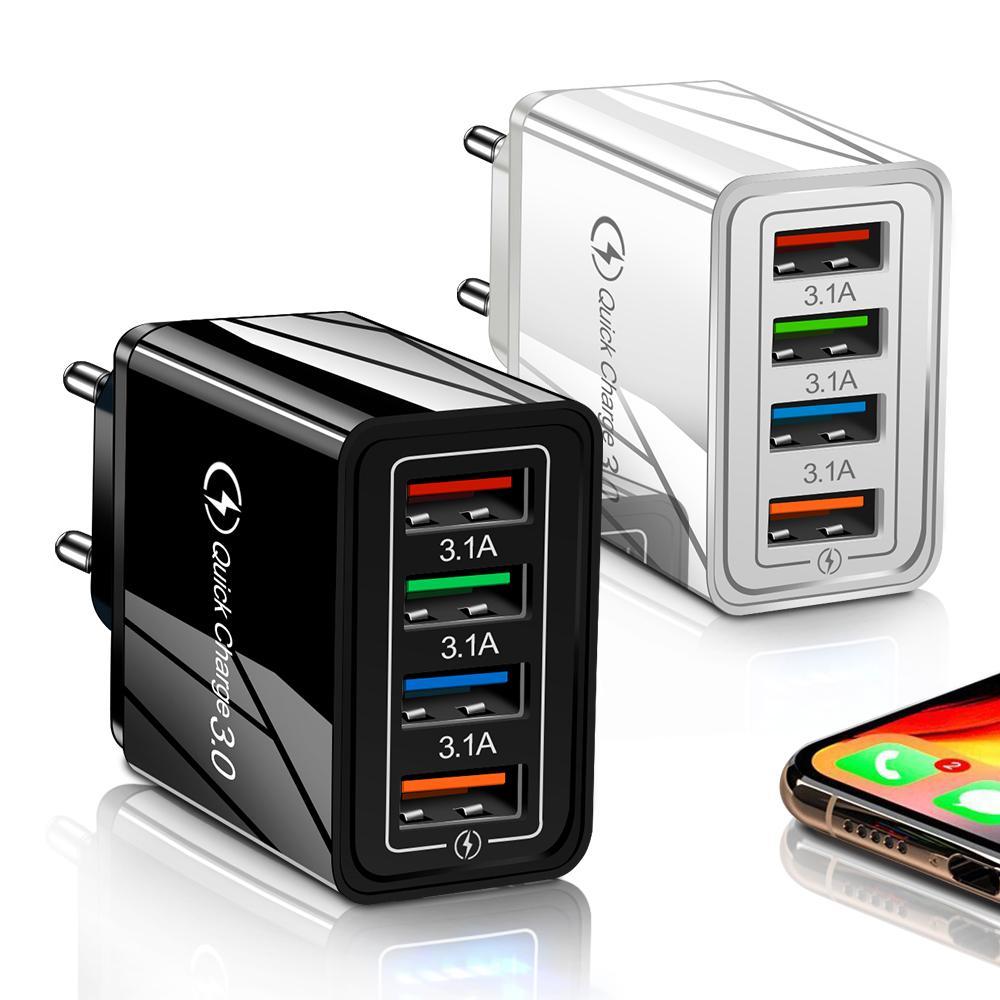 EU / US 플러그 USB 벽 충전기 빠른 충전 3.0 전화 어댑터 iPhone 용 Samsung Huawei 태블릿 휴대용 빠른 충전 모바일 충전기