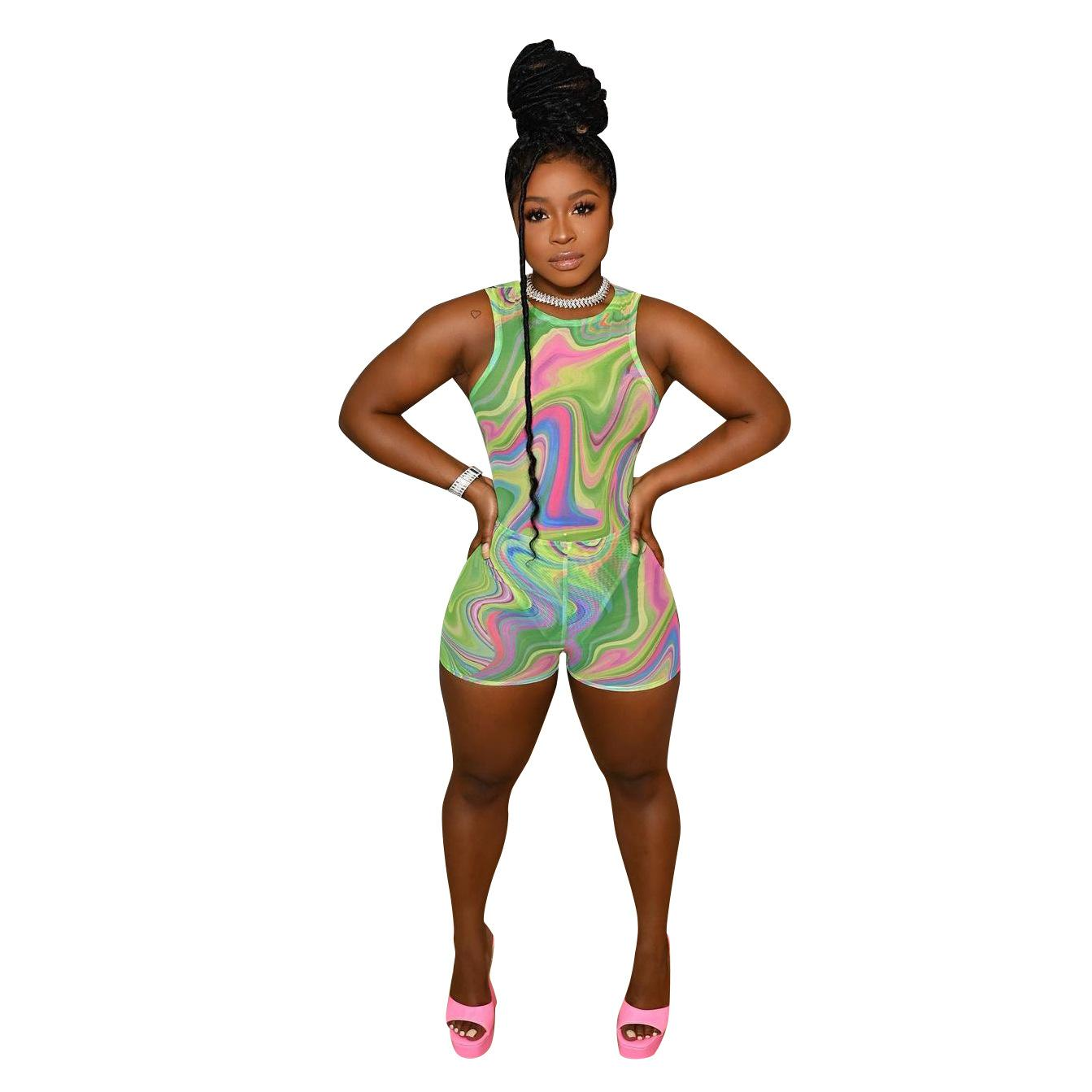2021 Summer Sexy Lady Women Printing Jumpsuits Hottest Crew Neck Sleeveless Soft Nightclub Party Short Rompers