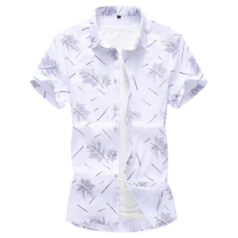 Biancheria da uomo in cotone Casual Dress Shirts Maschio Spiaggia di alta qualità Spiaggia hawaiana Uomo Manica corta Slim Fit 5XL 6XL 7XL Uomo Uomo