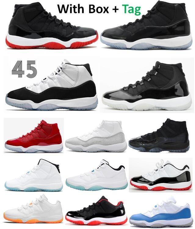 11 11S BREG SPACE JAM CONCORD JUBILEE 25ème anniversaire Chaussures de basketball Hommes Légende Blue Cap et robe Gym Rouge 72-10 Sneakers
