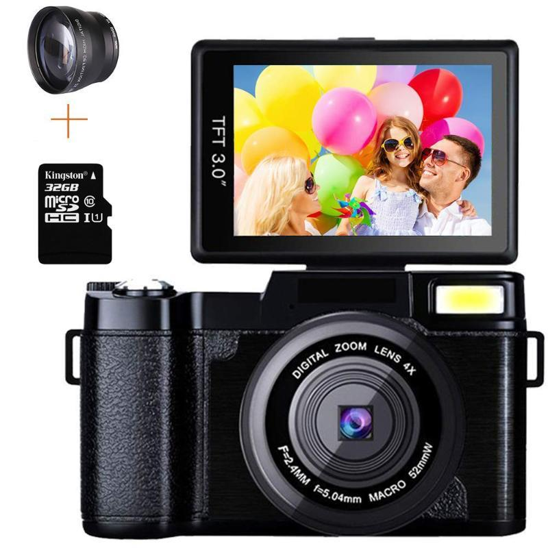 Digital Cameras Professional 24MP Video Camera 4X Zoom Rotatable Screen Full 1080P Anti-shake SLR Camcorder Po W/ Wide Lens And 32GB Card